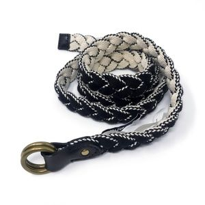 Madewell Braided Belt Black White Medium Large